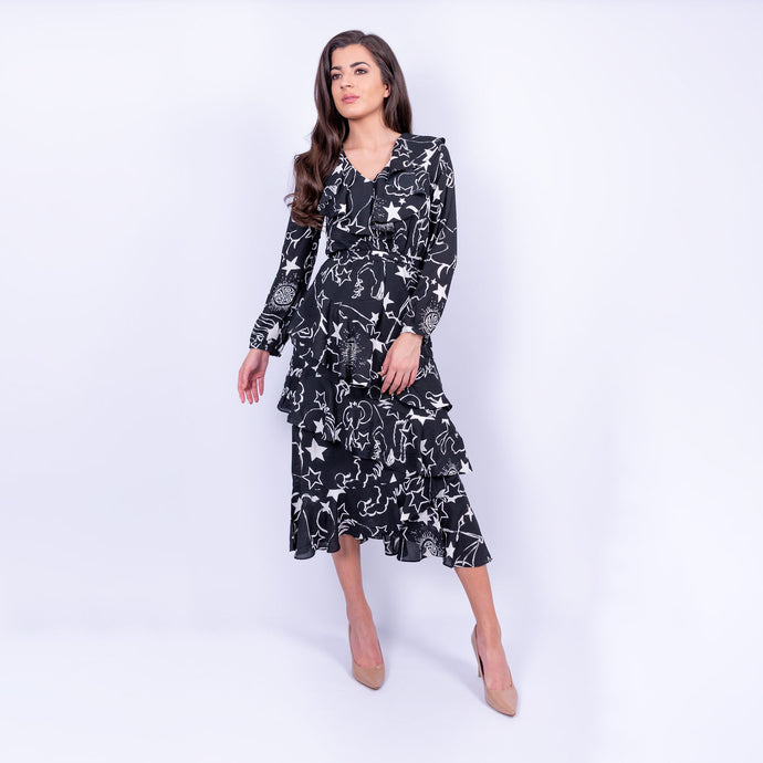 BIBA constellation print midi dress with skirt ruffles and long sleeves made in a floaty fabric, available to rent from LENDLAB