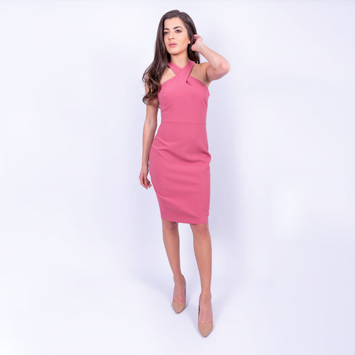 Likely cross neck sleeveless pencil midi dress with back slit in a dusky rose colour and made from a heavy weight jersey material available to rent at LENDLAB