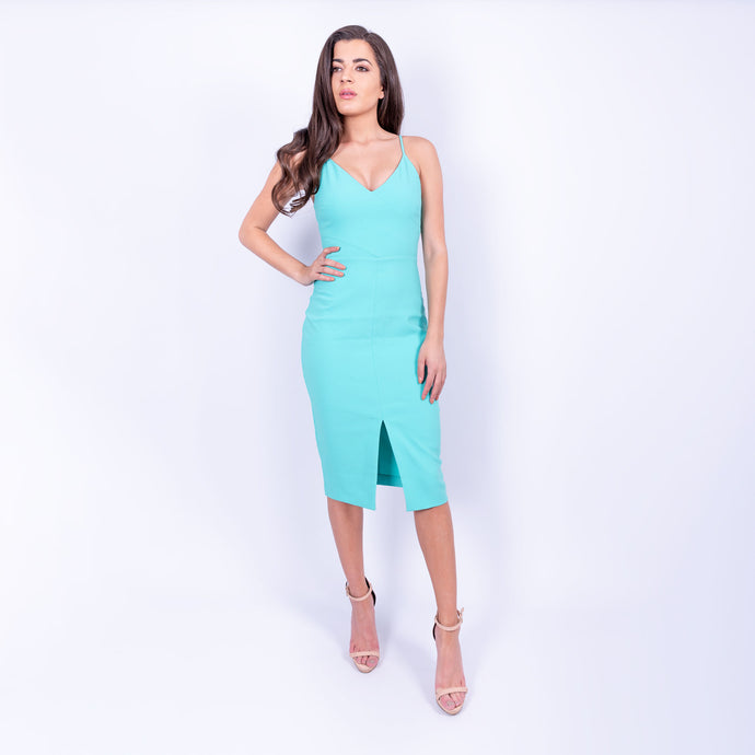 bright turquoise likely midi dress with spaghetti straps, v-neck bust and front slit in a heavy weight stretch fabric available to rent from LENDLAB