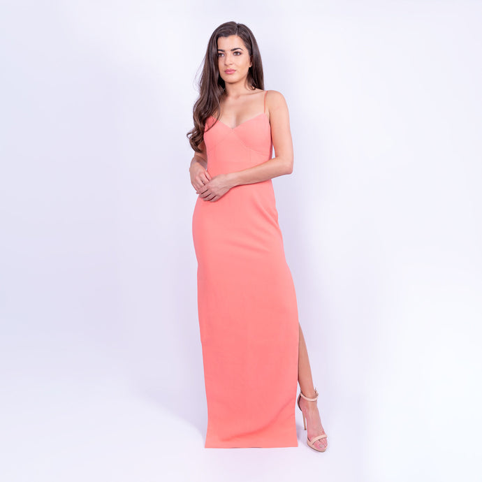 Likely brand coral floor length maxi dress with spaghetti straps and side leg split available to rent from LENDLAB