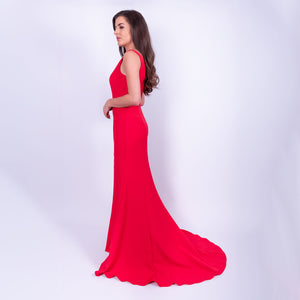 Shoulder Ruffle Gown