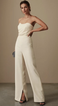 Load image into Gallery viewer, fashionable cream Reiss flared jumpsuit with draped strapless bodice available to rent at lendlab