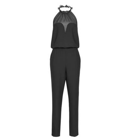 A front view of a Reiss black halterneck jumpsuit with a white background