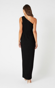 model with her back to us wearing a black one shoulder maxi dress