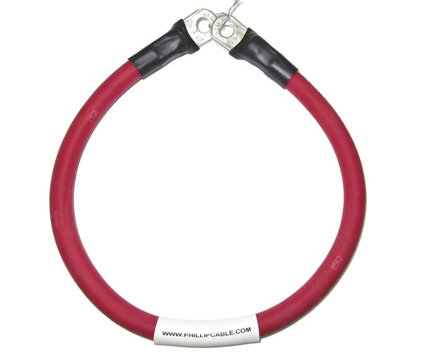 2/0 AWG. SINGLE RED. Battery Terminal Cable with Stud Lug 3/8, 5/16. Heavy Duty. Made in USA