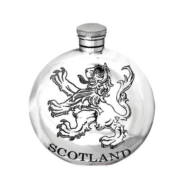 5oz Round Scotland Pewter Hip Flask - Cutting Edge Engravers
