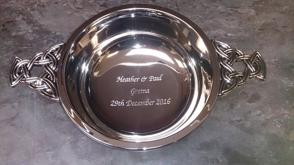 "5"" Chrome Plated Quaich - Cutting Edge Engravers"