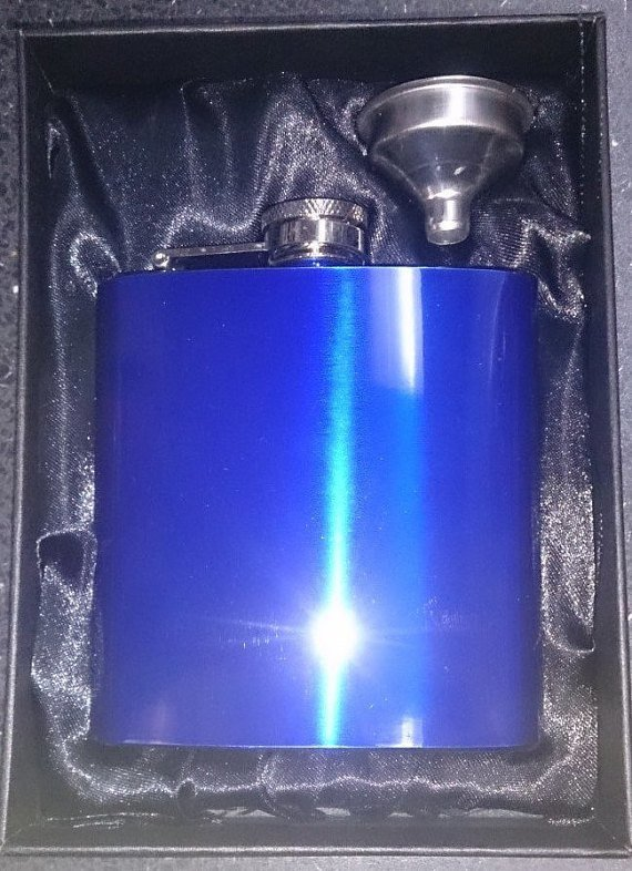 6oz Blue Hip Flask & Funnel Gift Set - Cutting Edge Engravers