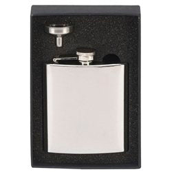 6oz Polished Hip Flask In Black Gift Box - Cutting Edge Engravers