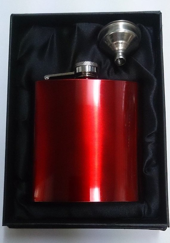 Red Stainless Steel Hip Flask & Funnel