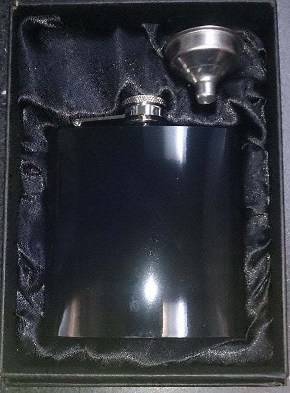 Shiny Black 6oz Hip Flask & Funnel Gift Set - Cutting Edge Engravers