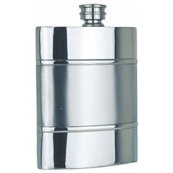 6oz Satin Band Pewter Hip Flask - Cutting Edge Engravers