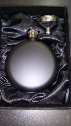 5oz Round Matte Black Hip Flask - Cutting Edge Engravers