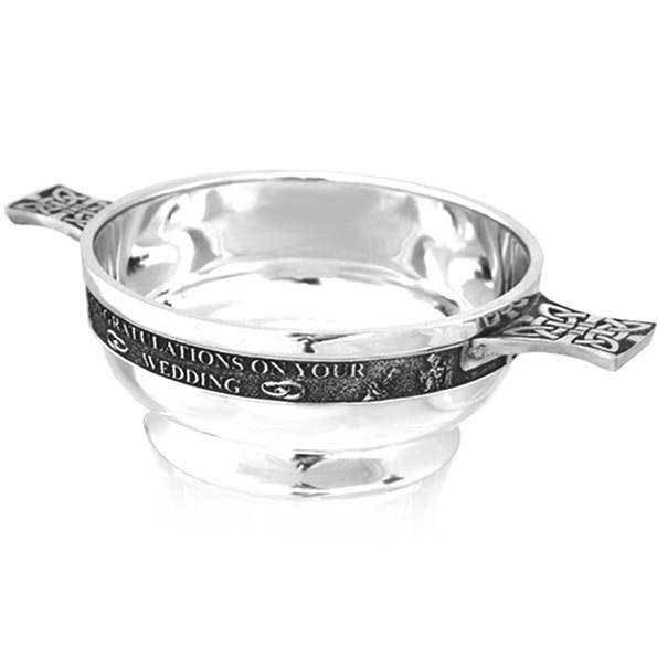 "3.5"" Wedding Pewter Quaich - Cutting Edge Engravers"