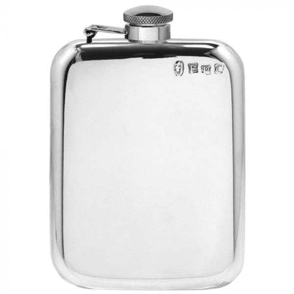 6oz Captive Top Pewter Hip Flask - Cutting Edge Engravers