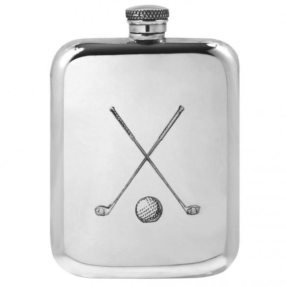 6oz Pewter Golf Club Hip Flask