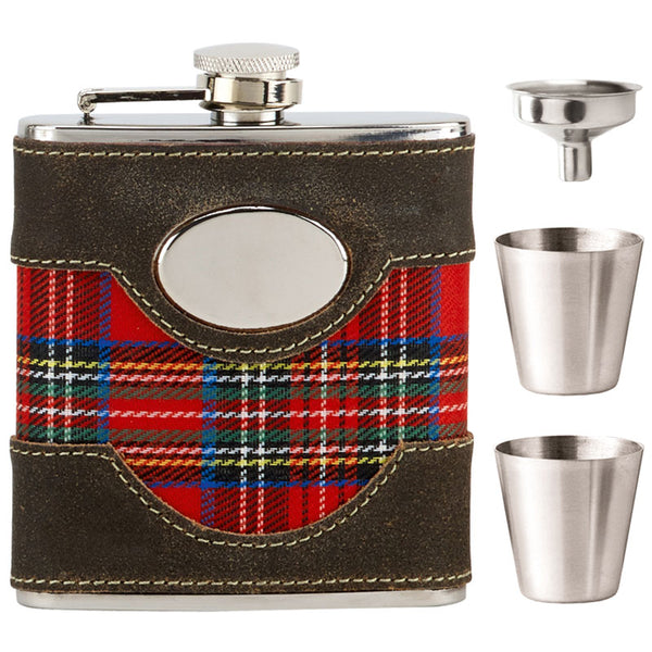 6oz Red Tartan Hip Flask Gift Box - Cutting Edge Engravers