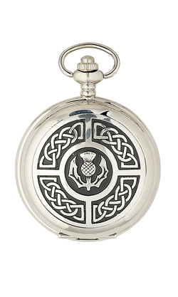 Chrome Thistle & Celtic Knotwork Pocket Watch - Cutting Edge Engravers