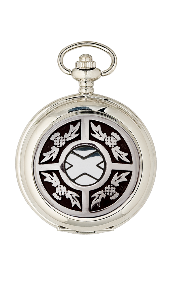 Saltire Chrome Pocket Watch - Cutting Edge Engravers