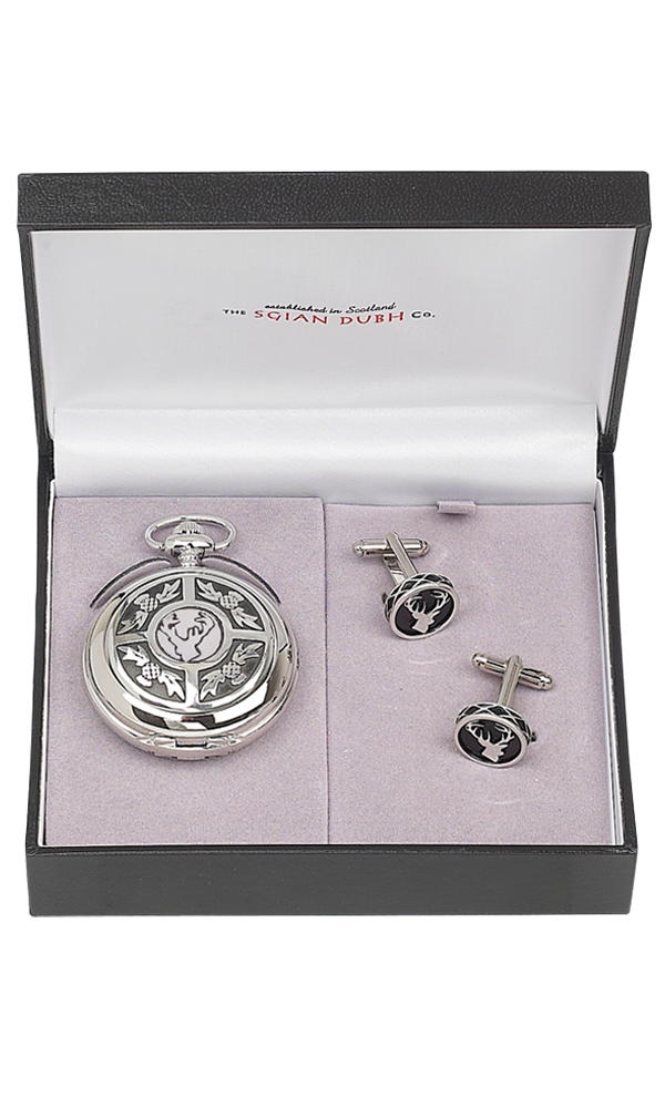 Stag Head 2 Piece Pocket Watch Gift Set - Cutting Edge Engravers