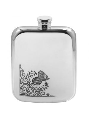 6oz Thistle Swirl Pewter Hip Flask - Cutting Edge Engravers