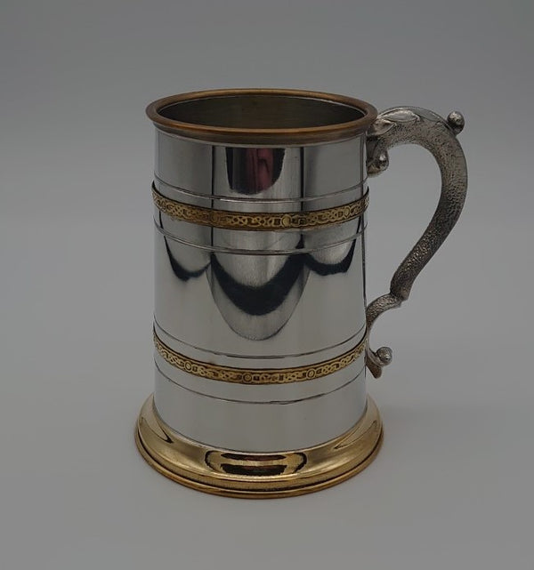 1 Pint Pewter & Brass Tankard - Cutting Edge Engravers