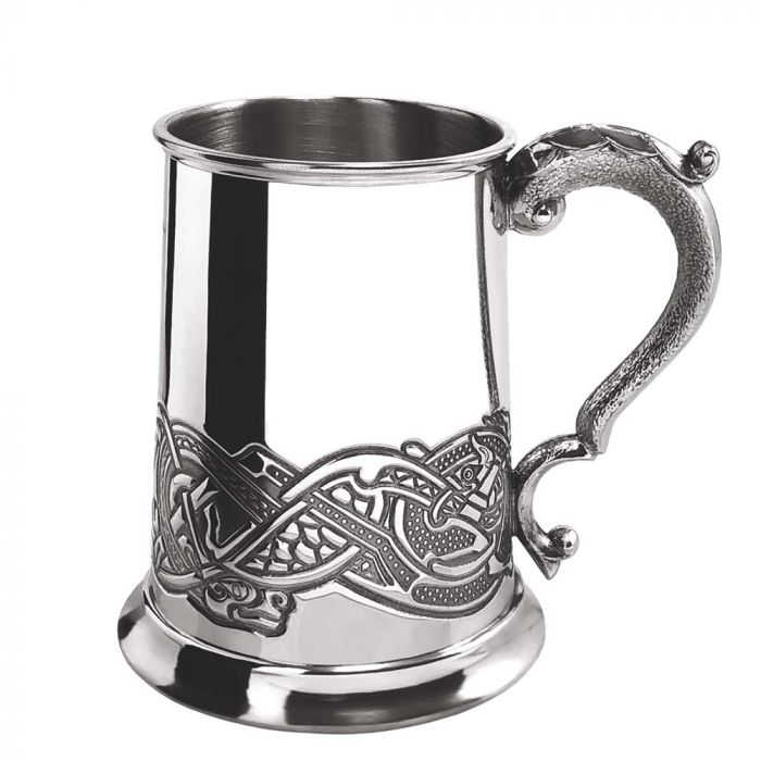 1 Pint Celtic Design Pewter Tankard - Cutting Edge Engravers