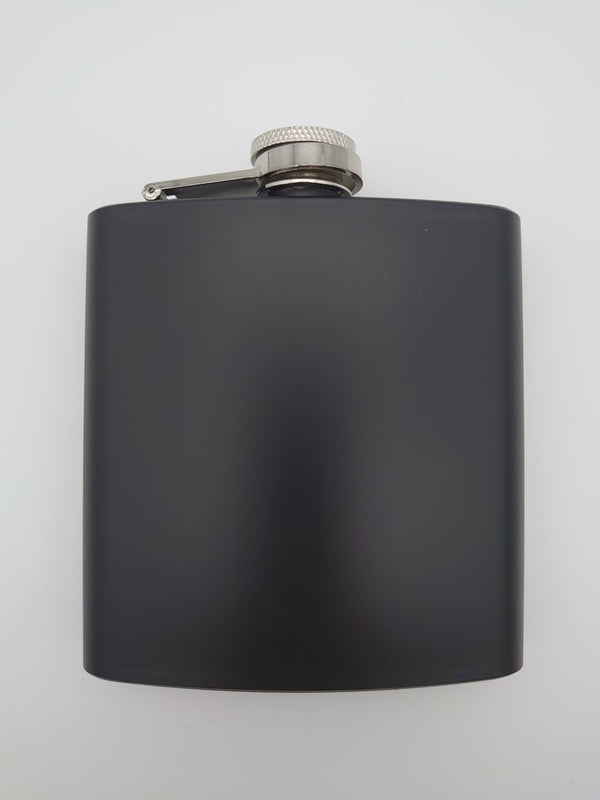 6oz Matt Black Hip Flask - Cutting Edge Engravers