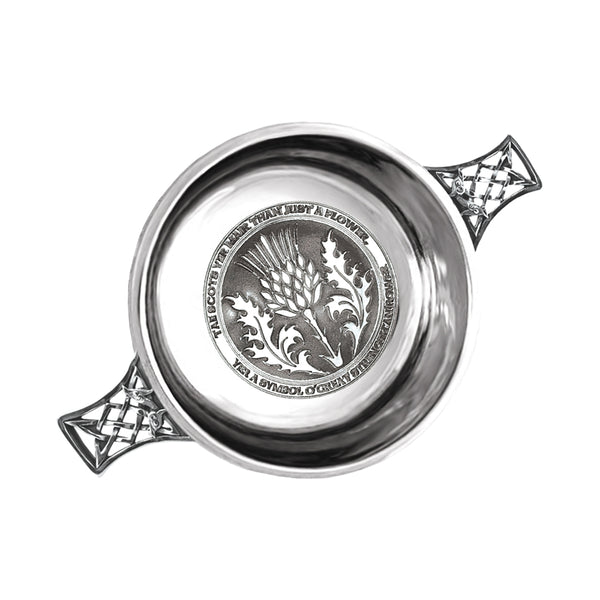 "3.5"" Tae A Thistle Pewter Quaich - Cutting Edge Engravers"