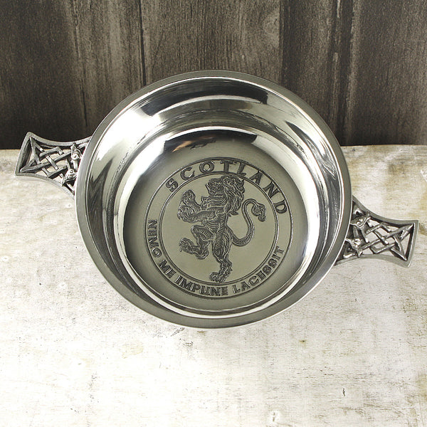"3.5"" Lion Rampant Pewter Quaich - Cutting Edge Engravers"