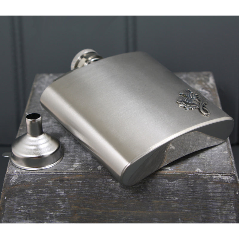 6oz Thistle Badge Stainless Steel Hip Flask