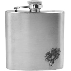 6oz Thistle Badge Stainless Steel Hip Flask - Cutting Edge Engravers