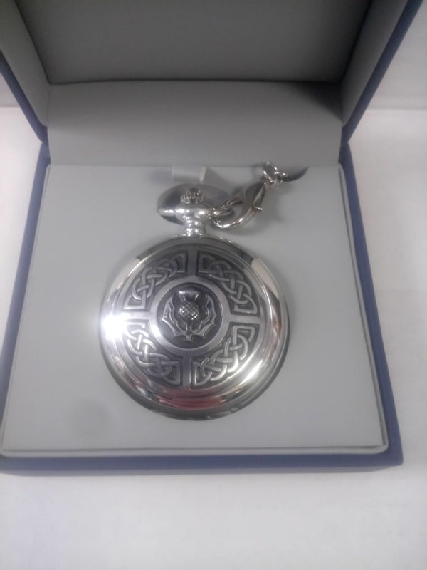 Chrome Thistle & Celtic Knotwork Pocket Watch
