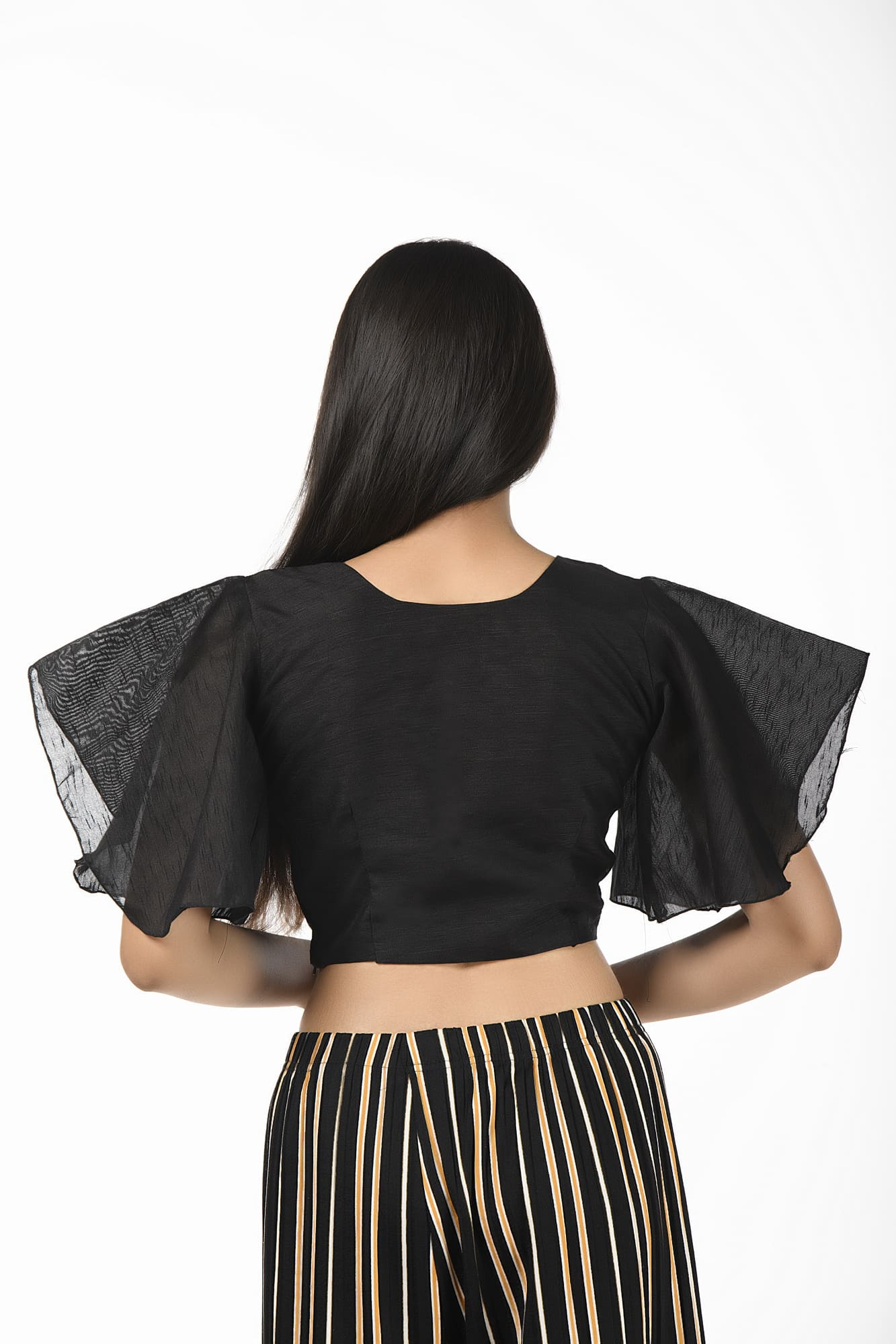Bell Sleeves Black Raw Silk Blouse