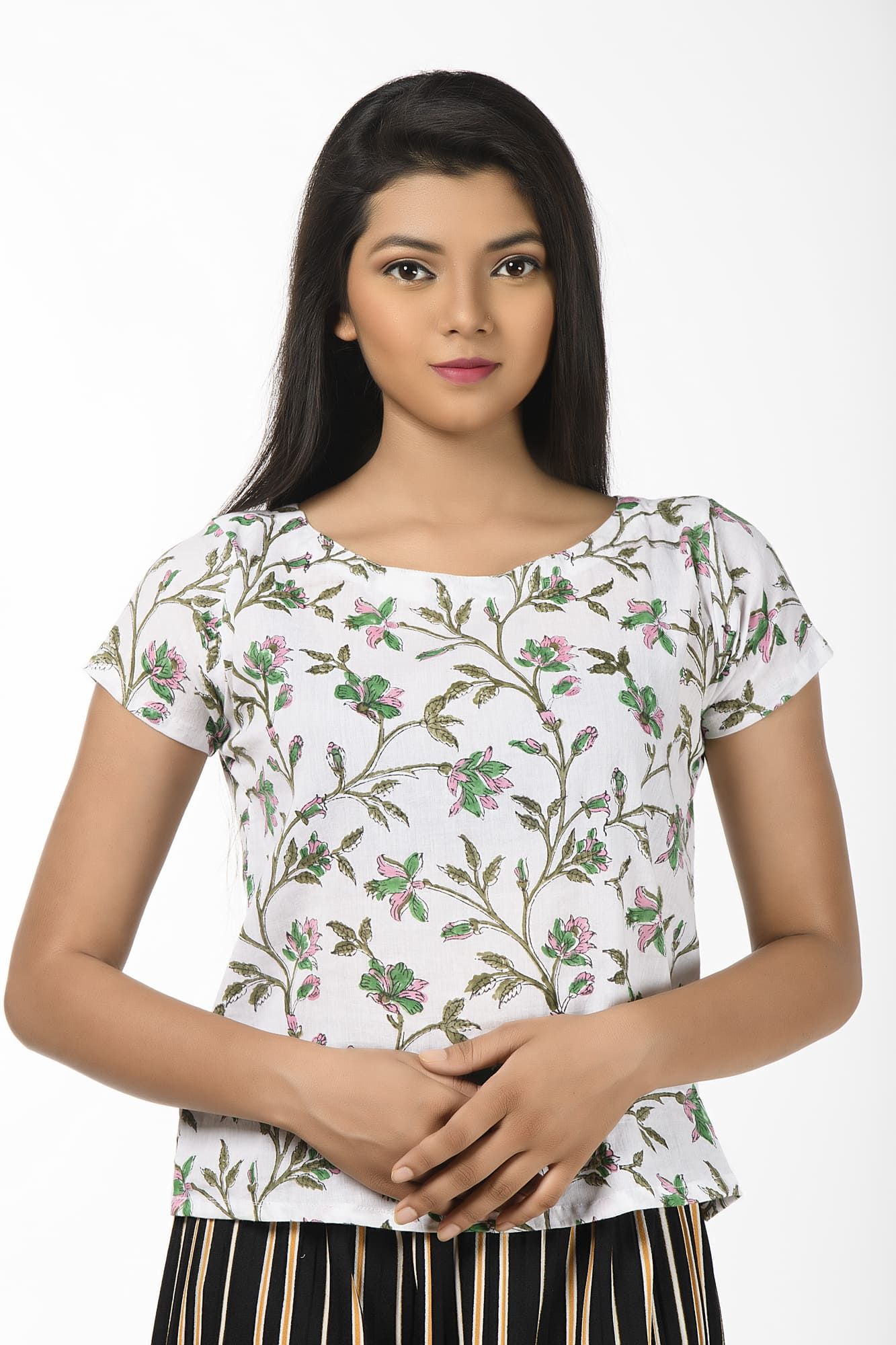 White Printed Short Sleeves Blouse cum Top