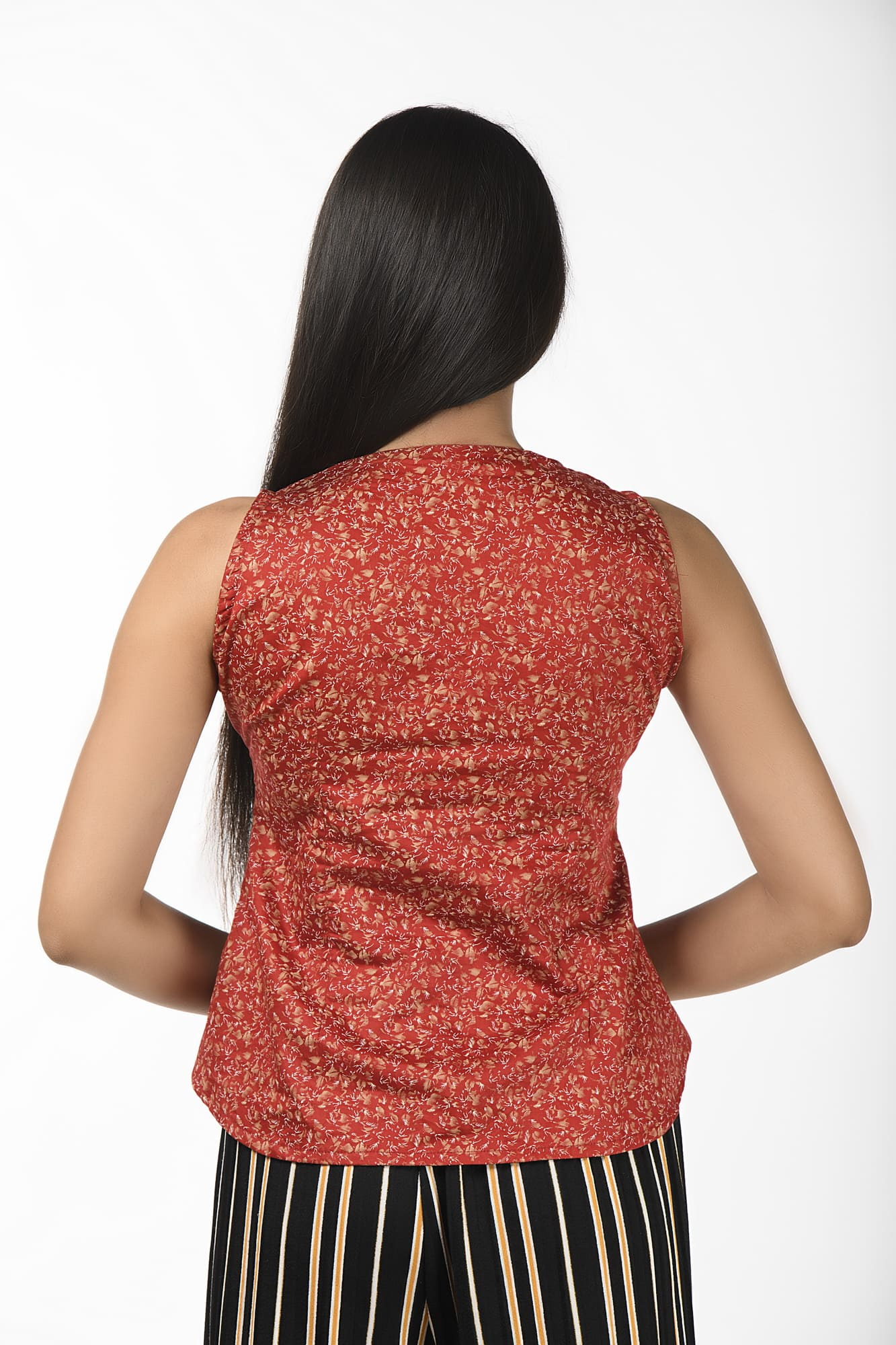 Dark Red Sleeveless Super Stylish Blouse cum Top