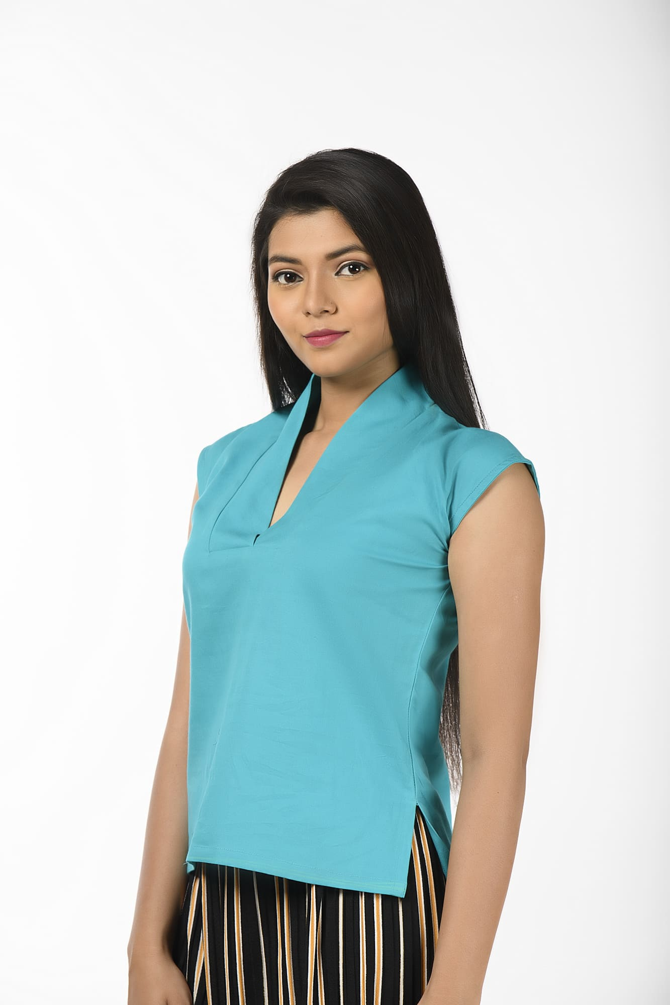 Blue Mega Sleeves Chic Blouse cum Top