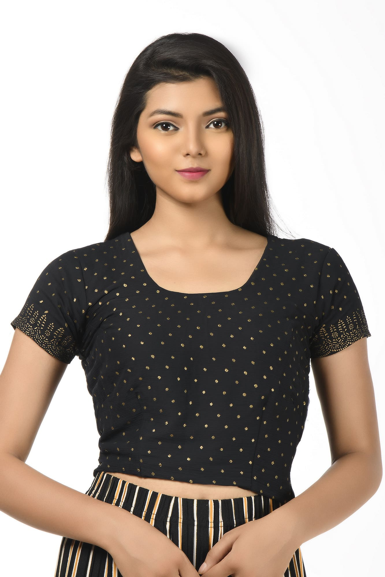 Golden Polka Dots Poly Chiffon Short Sleeves Blouse