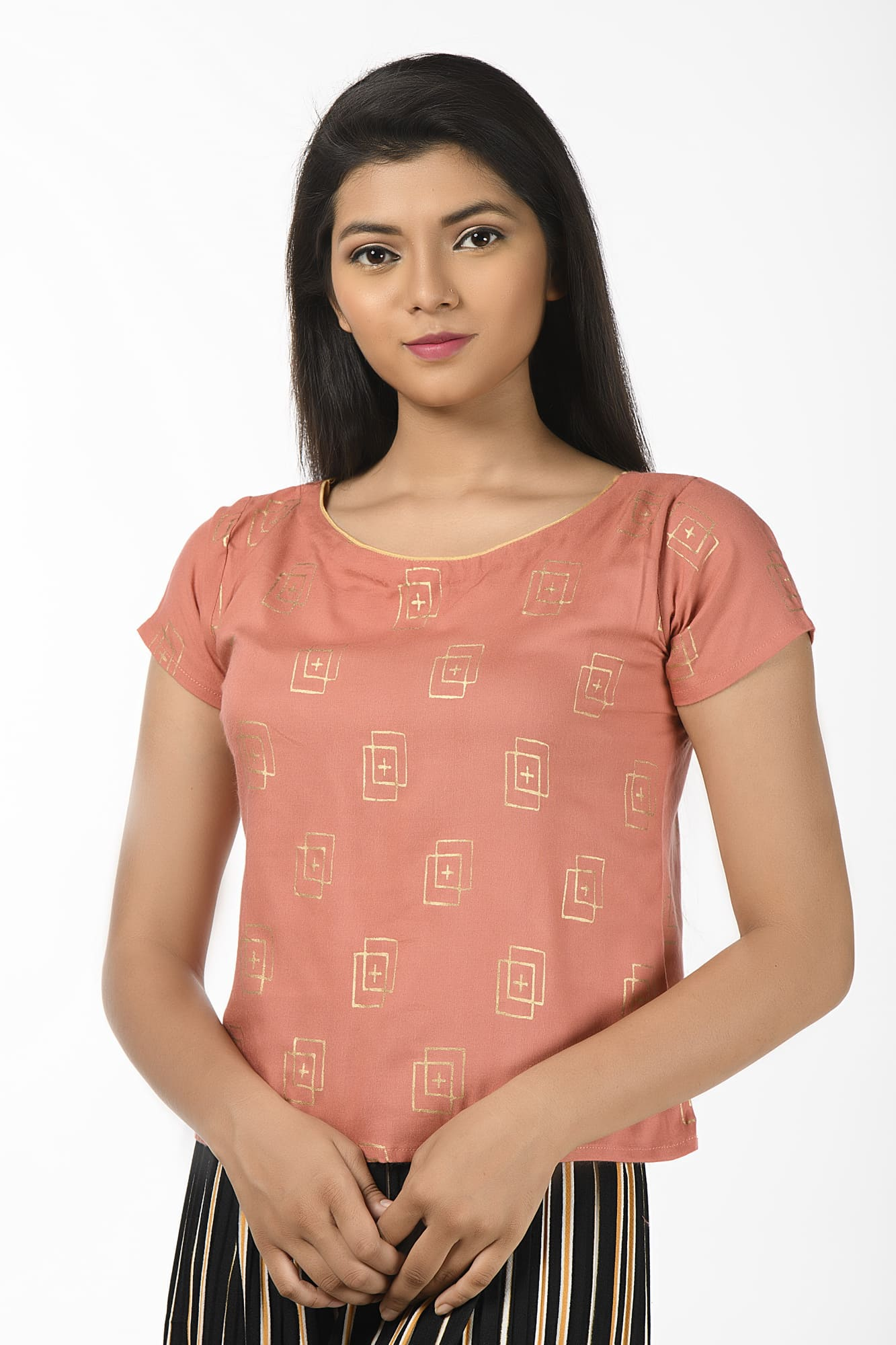 Pink Colored Boat Necked Short Sleeves Blouse cum Top