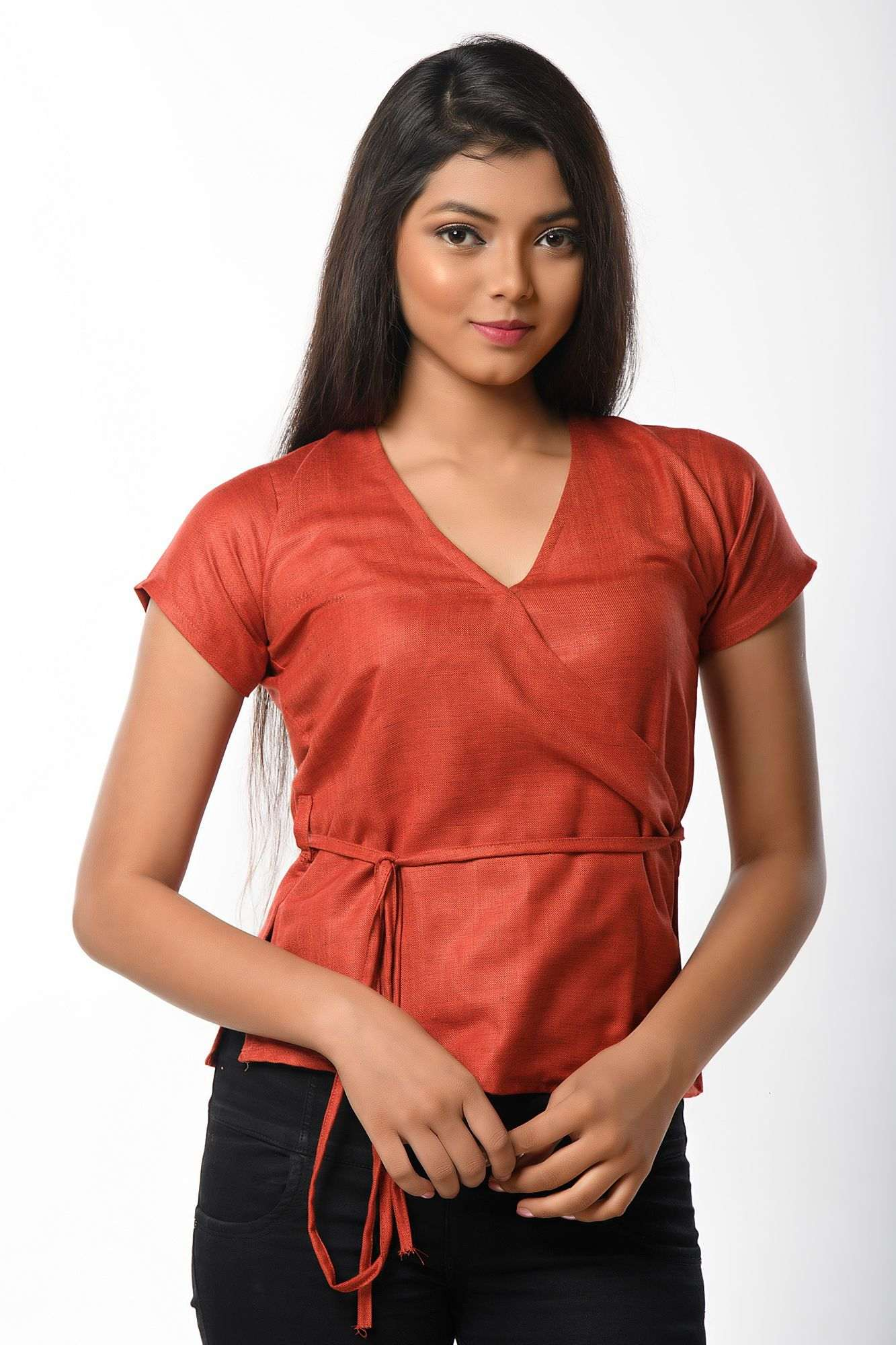 Brick red colored short sleeves top cum blouse