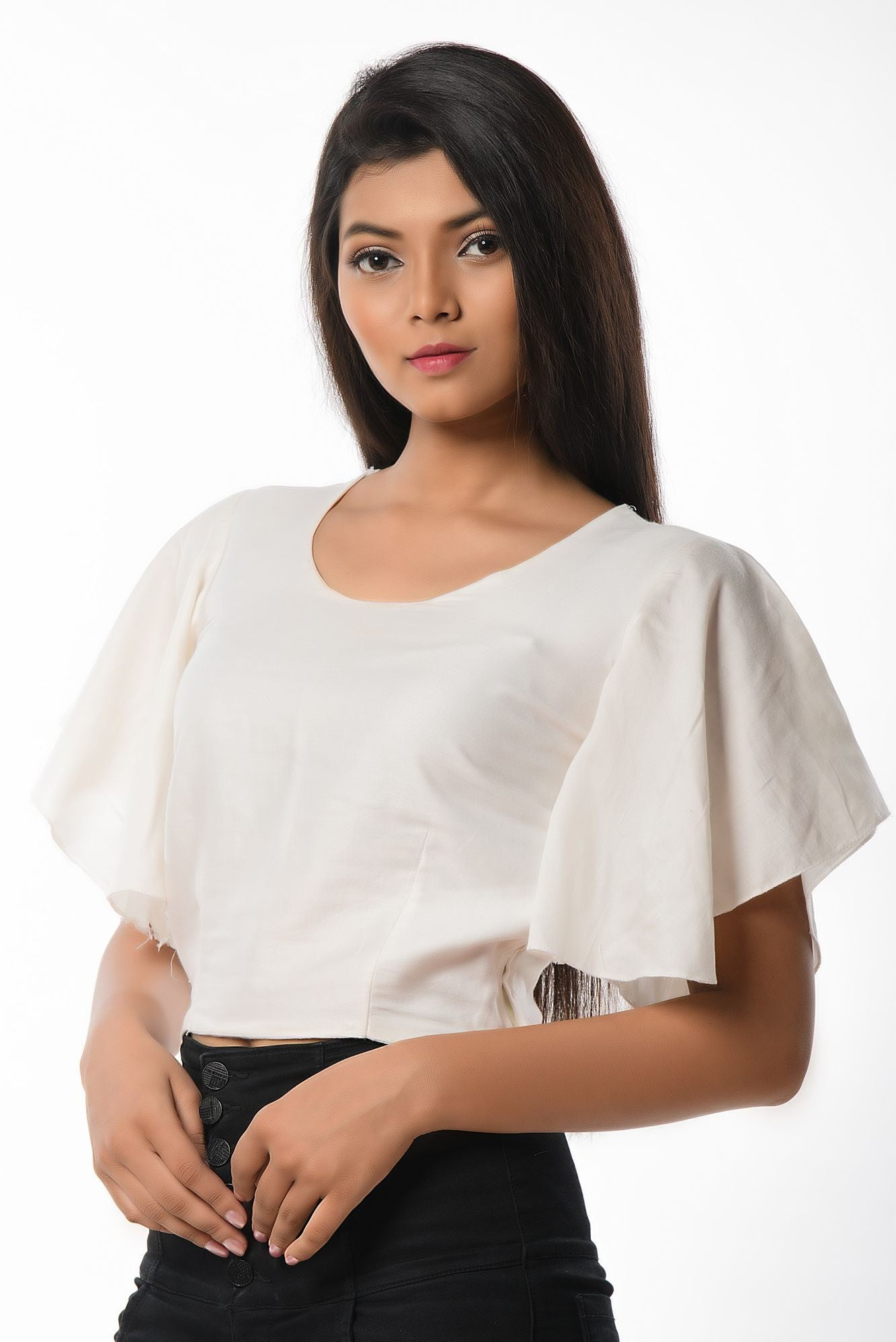 WHITE PLAIN BELL SLEEVES BLOUSE CUM TOP