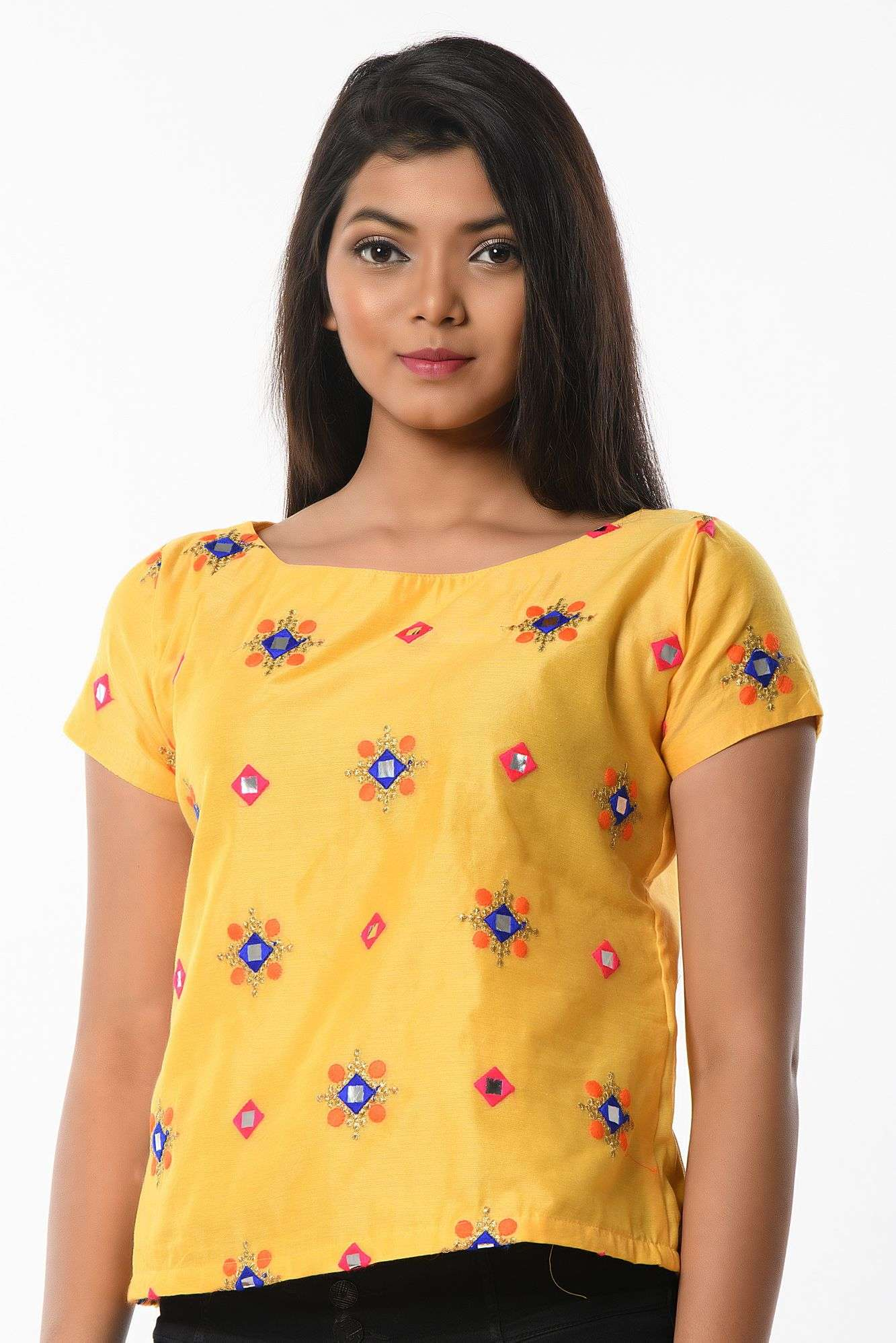 YELLOW COLORED TOP CUM BLOUSES