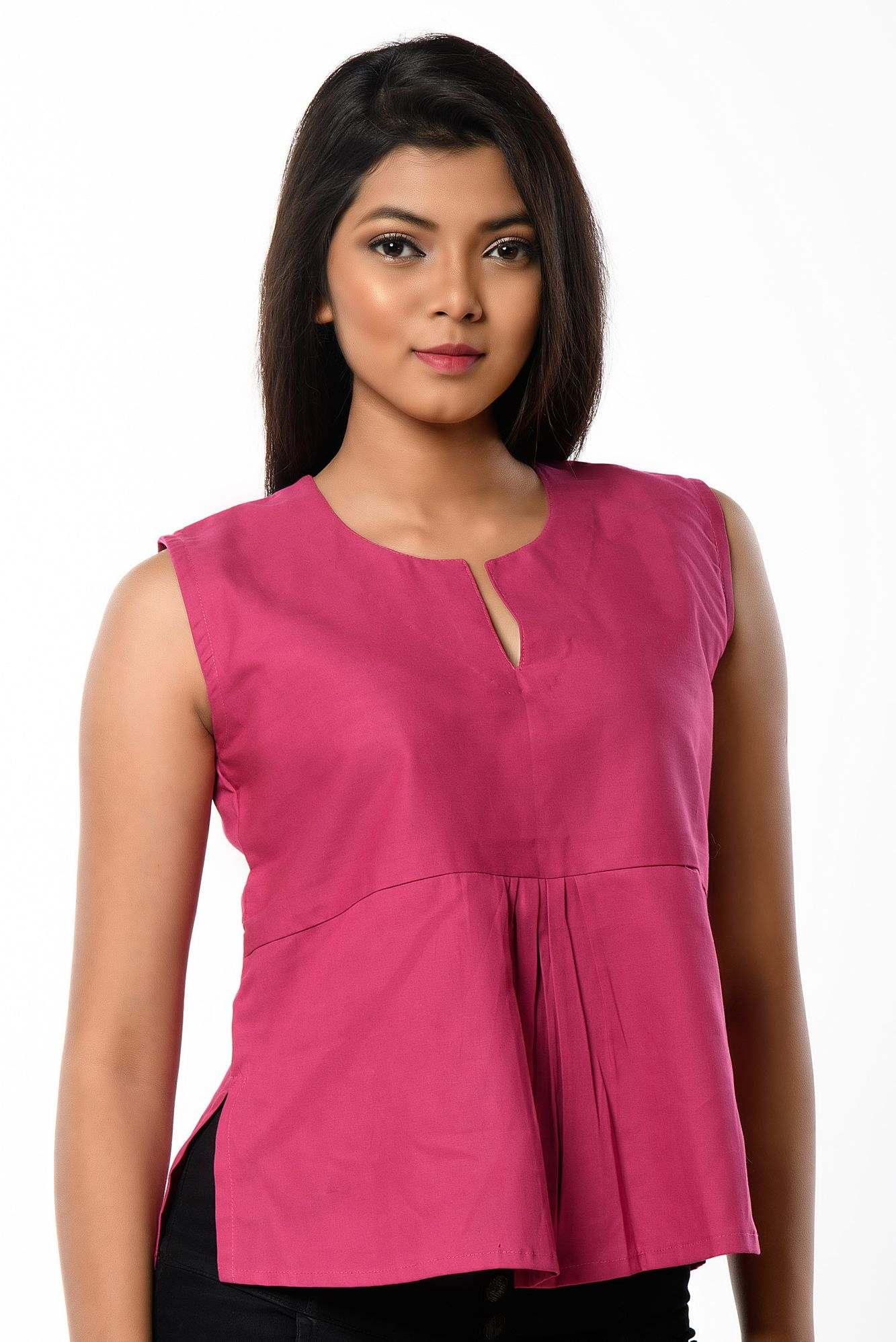 pink sleeveless top cum blouse