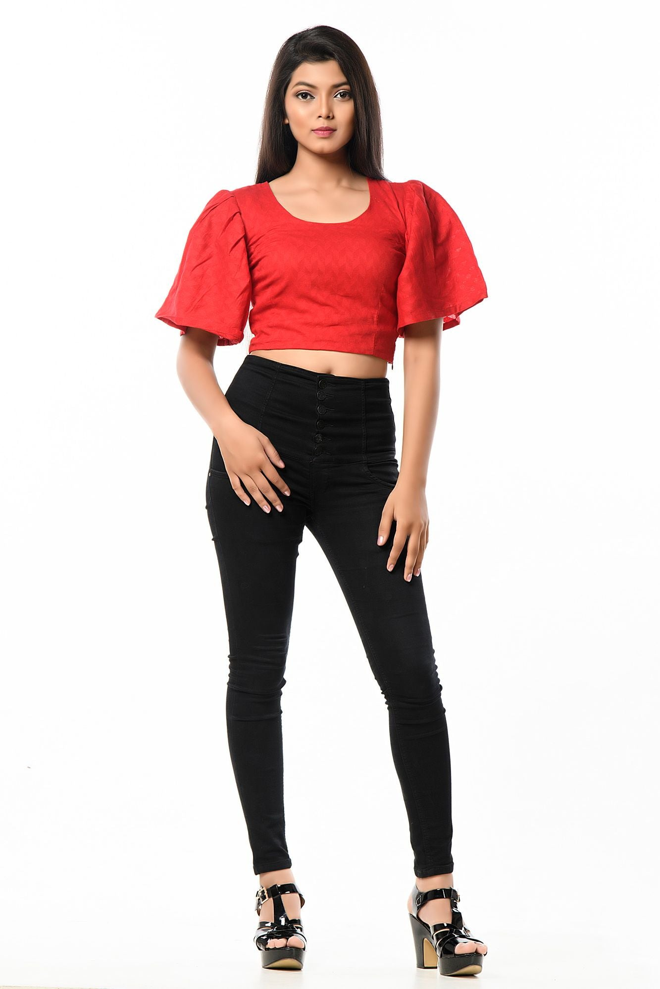Red chick bell sleeve crop top cum blouse