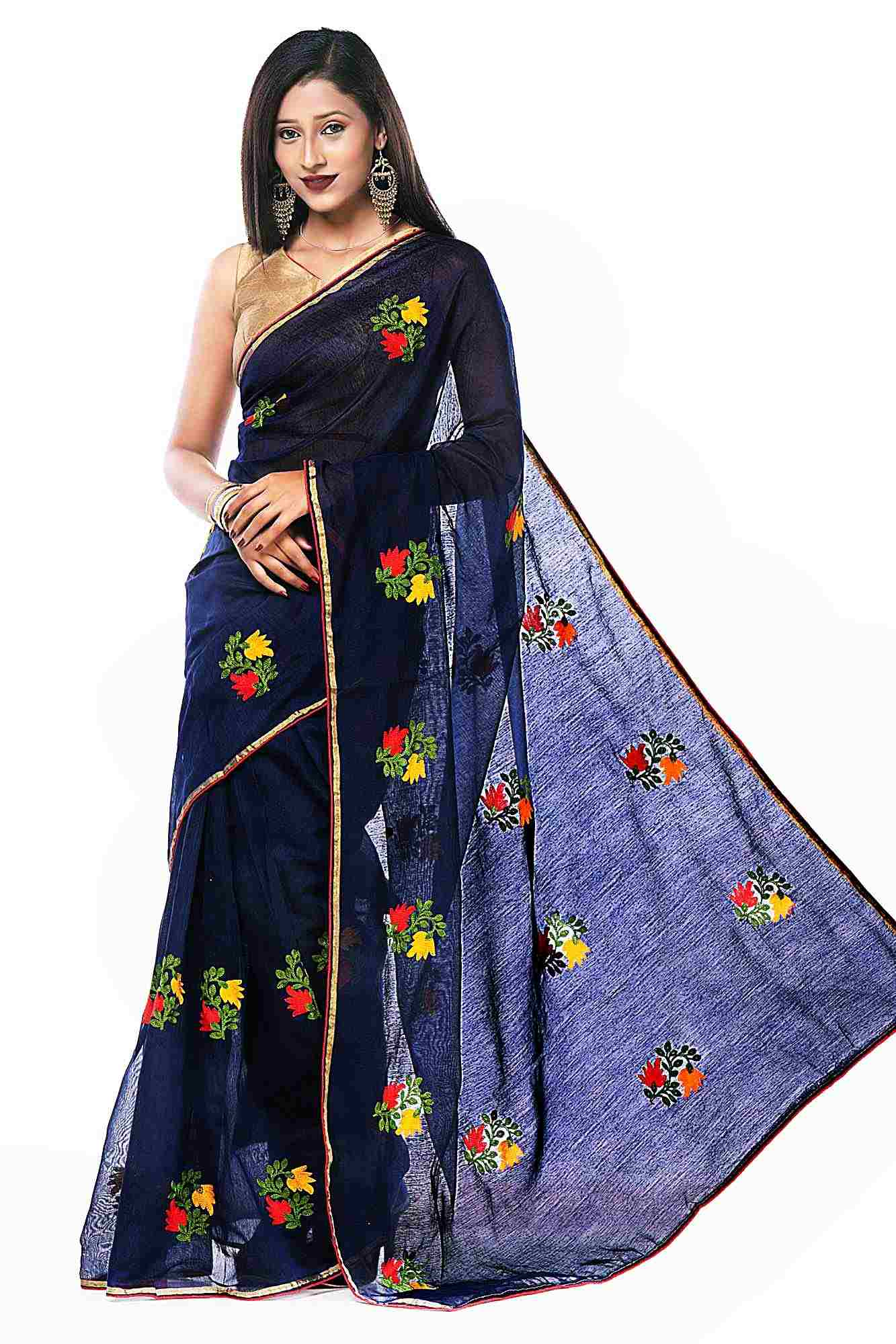 Navy Blue Color Chanderi Cotton Floral Embroidered Ensemble