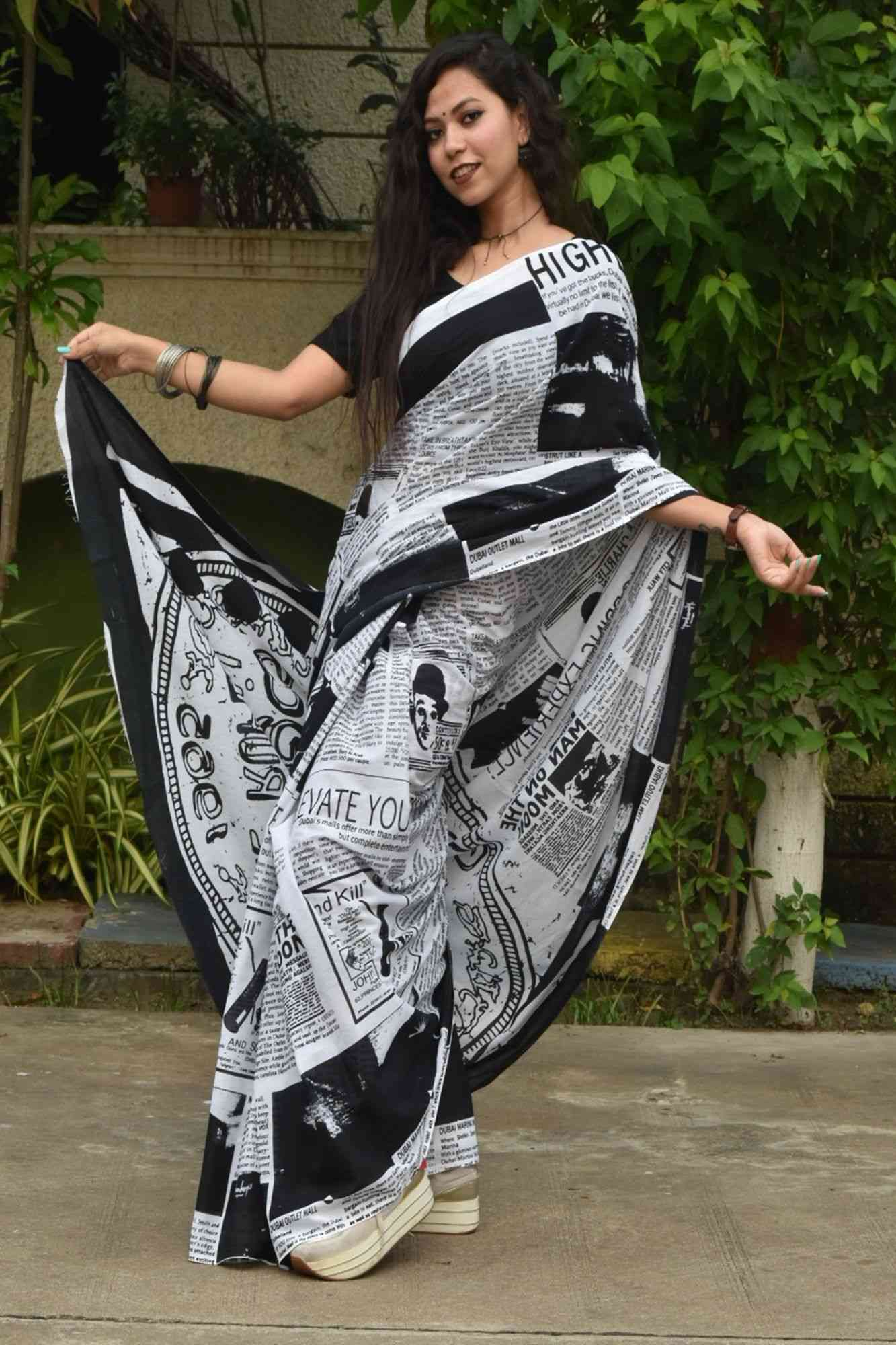Black n white mul mul cotton wrap in 1 minute saree