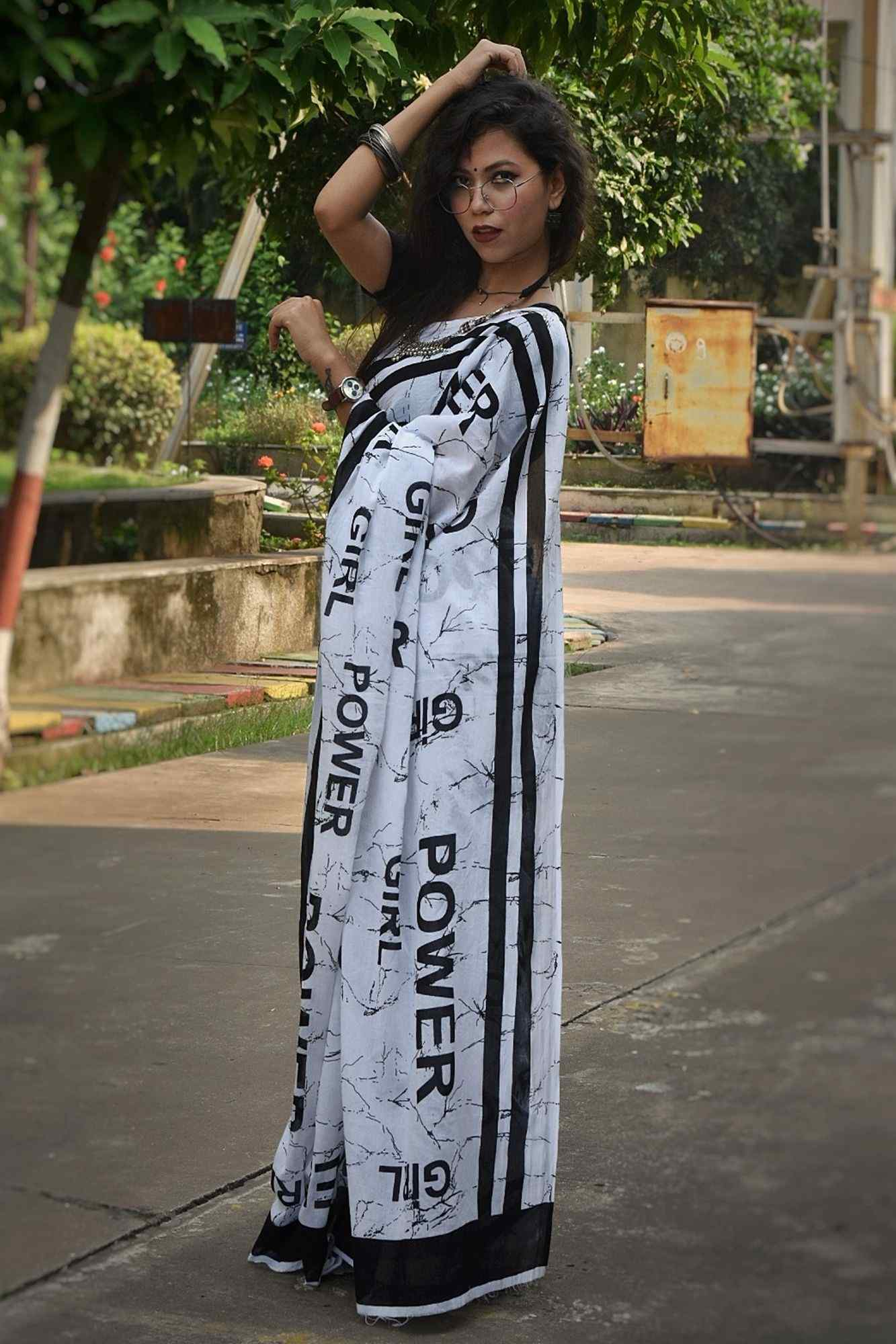 Girl power mul mul cotton wrap in 1 minute saree