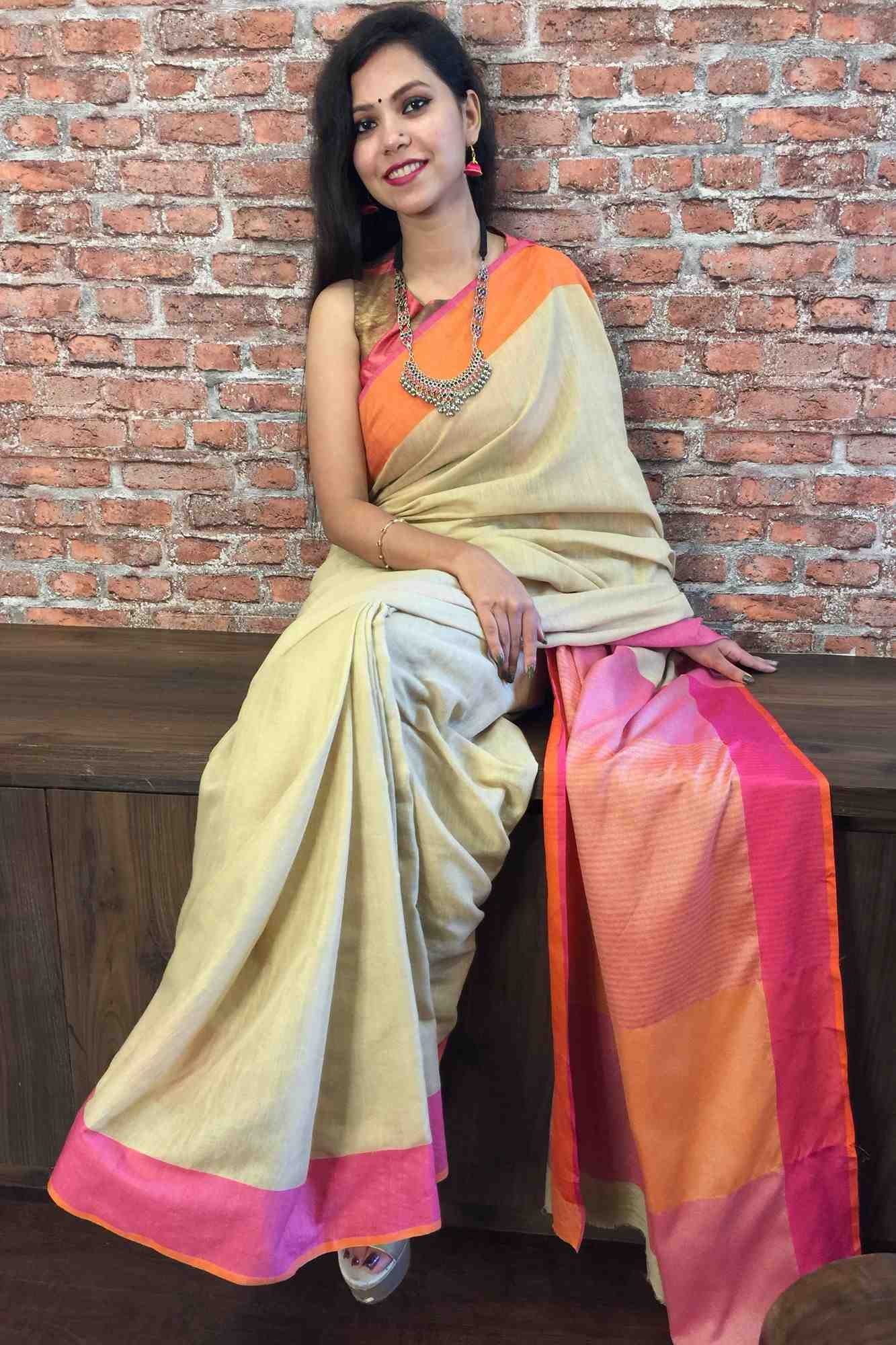 Beige & Pink Linen cotton wrap in 1 minute saree