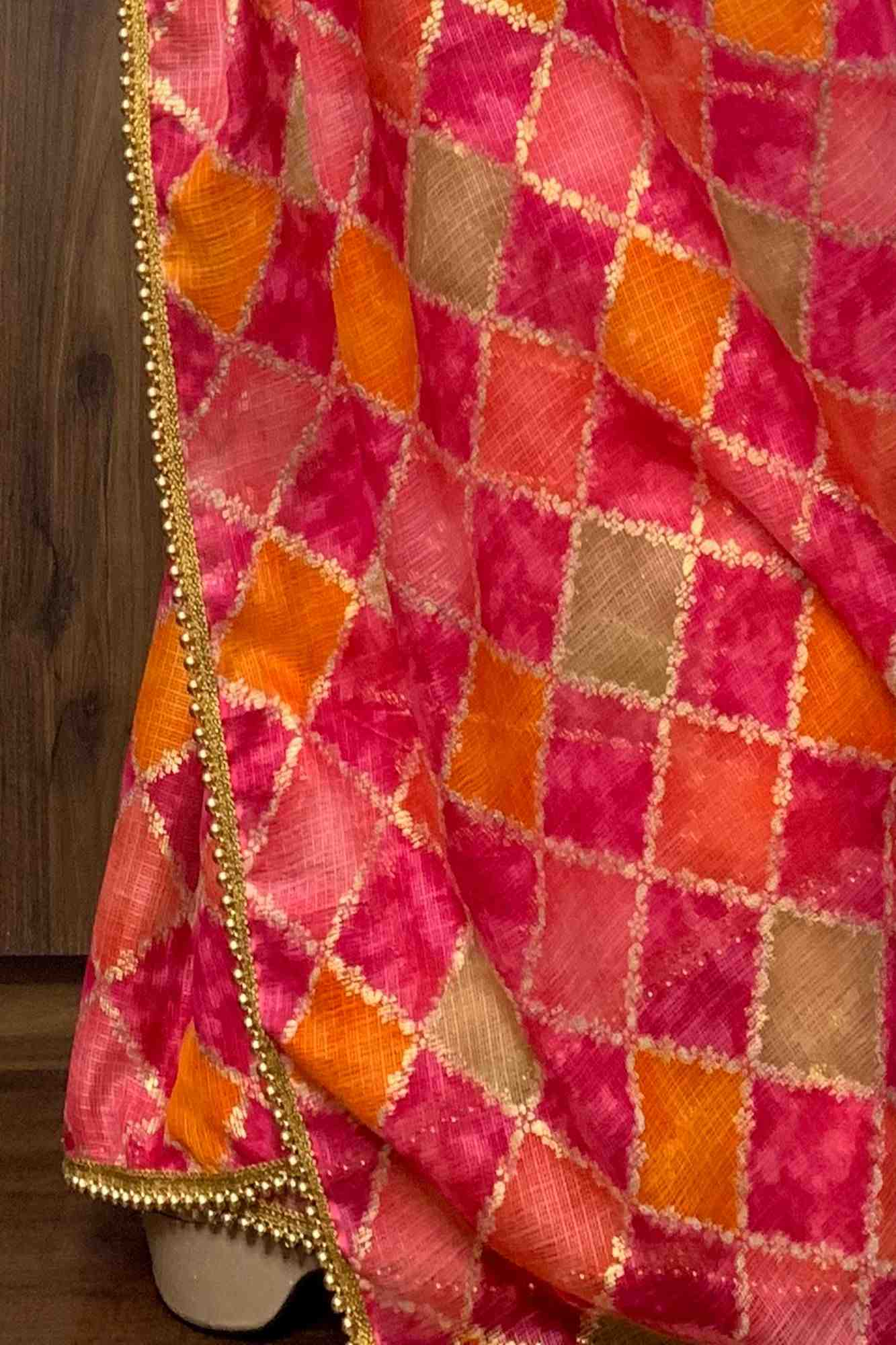 Pink Bandhej Print with golden foil print on kota doria with golden moti lace wrap in 1 minute saree