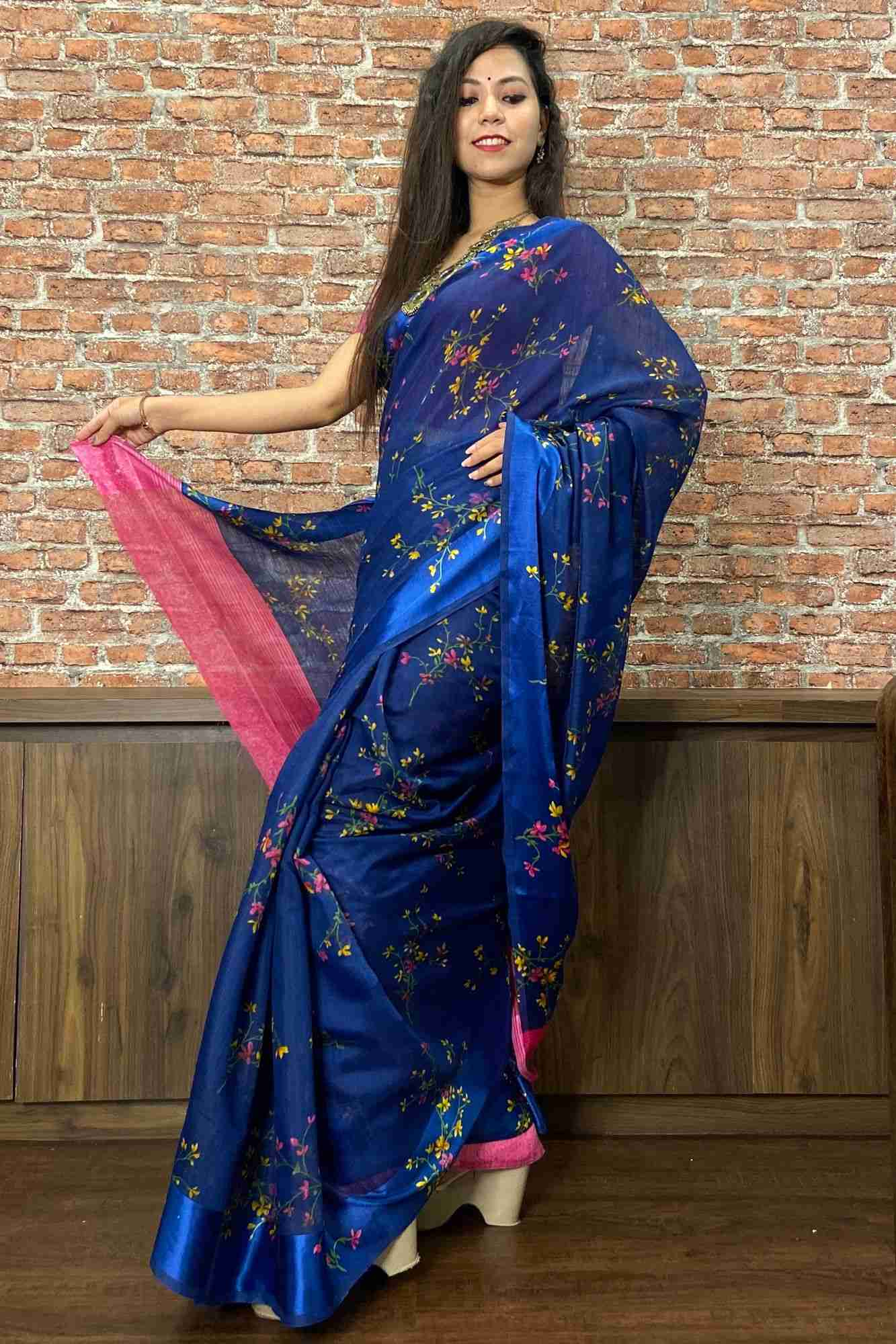 Blue printed cotton silk wrap in 1 minute saree